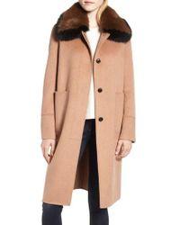 10 Crosby Derek Lam - Two-tone Genuine Fox Fur Collar Walking Coat - Lyst