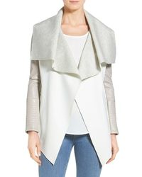 Rudsak | 'lamony' Leather Sleeve Neoprene Drape Collar Jacket | Lyst