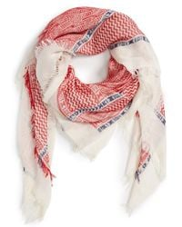Evelyn K - Geo Pattern Square Scarf - Coral - Lyst