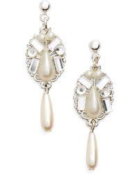 Halo - Faux Pearl & Crystal Teardrop Earrings - Lyst