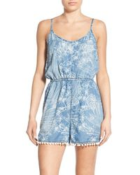 Love, Fire - Print Strappy Chambray Romper - Lyst