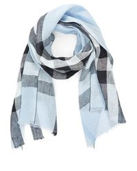 Burberry   Exploded Check Linen Scarf   Lyst