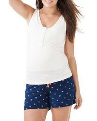 Amoralia - Maternity/nursing Button Tank & Pajama Shorts Set - Lyst