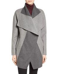 Vera Wang - Double Face Wool Blend Coat - Lyst