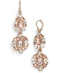Marchesa - Double Drop Crystal Earrings - Lyst
