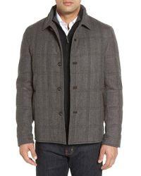 Luciano Barbera - 'historical' Herringbone Wool Blend Coat - Lyst
