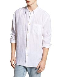 French Connection - Relaxed Fit Solid Linen Sport Shirt - Lyst