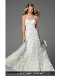 Watters - Dame Illusion Neckline Lace A-line Gown - Lyst