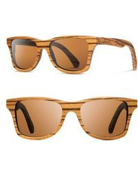 Shwood - 'canby' 54mm Polarized Wood Sunglasses - Zebrawood/ Brown Polar - Lyst