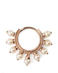 Maria Tash - 18 Gauge Pearl Coronet Ring - Lyst