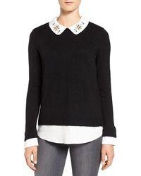 Ivanka Trump - Embellished Collar Layer Look Sweater - Lyst