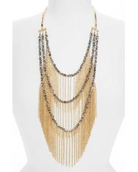 Natasha Couture - Multistrand Chain Fringe Necklace - Lyst
