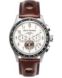 Jack Mason Brand - Racing Chronograph Leather Strap Watch - Lyst