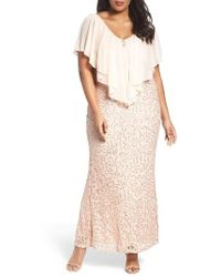 Marina - Chiffon Capelet Sequin Lace Gown - Lyst