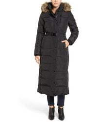 Kors by Michael Kors - Faux Fur Trim Belted Down & Feather Fill Maxi Coat - Lyst