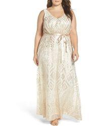 Marina | Sequin Mesh Belted Long Dress | Lyst