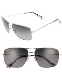 Maui Jim | Cook Pines 63mm Polarized Titanium Aviator Sunglasses | Lyst
