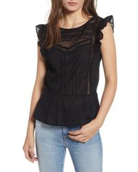 Hinge - Mixed Lace Peplum Top - Lyst