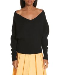 Ji Oh Off The Shoulder Wool & Cashmere Sweater