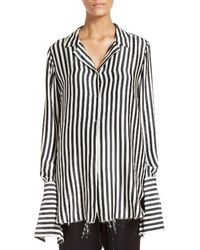 Marques'Almeida - Stripe Silk Pajama Top - Lyst