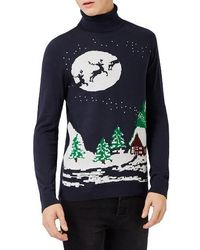 TOPMAN | Slim Fit Holiday Turtleneck Sweater | Lyst