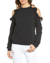 Sincerely Jules - Ruffle Cold Shoulder Sweatshirt - Lyst