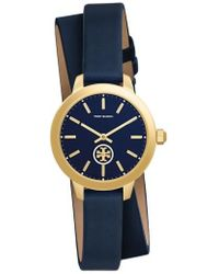 Tory Burch - 'collins' Double Wrap Leather Strap Watch - Lyst