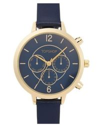TOPSHOP | Chronograph Leather Strap Watch | Lyst