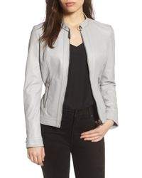 Lamarque - Lambskin Leather Biker Jacket - Lyst