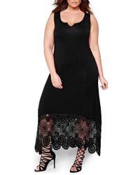 Michel Studio - Crochet Detail Maxi Dress - Lyst