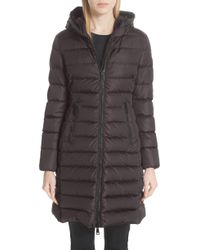 604463610 Lyst - Moncler Taleve Leather Panel Quilted Coat in Green