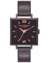 Olivia Burton - Square Leather Strap Watch - Lyst