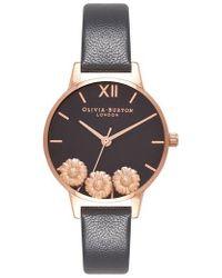 Olivia Burton - Dancing Daisy Leather Strap Watch - Lyst
