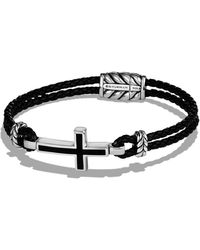 David Yurman - 'exotic Stone' Cross Station Leather Bracelet With Black Onyx - Lyst