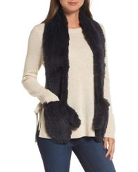 Love Token - Genuine Rabbit Fur Scarf With Built-in Mittens - Lyst