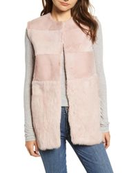 Love Token - Collarless Genuine Rabbit Fur Vest - Lyst