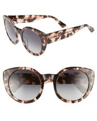 DIFF - Luna 54mm Polarized Round Sunglasses - Himalayan Tortoise/ Grey - Lyst