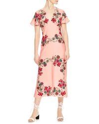 Sandro - Floral Flutter Sleeve Dress - Lyst