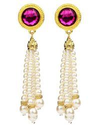 Ben-Amun - Crystal & Imitation Pearl Tassel Clip Earrings - Lyst
