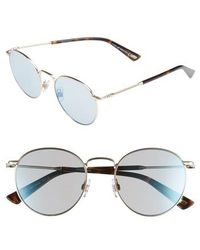 Web - 51mm Round Metal Sunglasses - Shiny Rose Gold/ Blue Mirror - Lyst