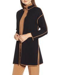 Anne Klein - Piped Detail Nehru Sweater Coat - Lyst