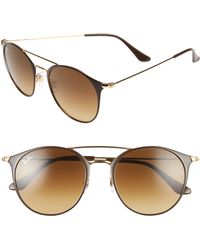 Ray-Ban - Highstreet 52mm Round Brow Bar Sunglasses - - Lyst