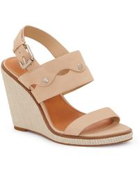 1.STATE - Gizela Leather Studded Wedge Sandals - Lyst