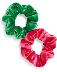 Cara - 2-pack Velour Scrunchies, Pink - Lyst