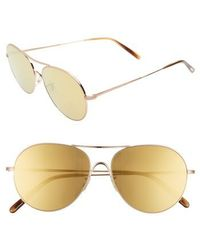 c3570bfb8f9 Oliver Peoples - Rockmore 58mm Aviator Sunglasses - Amber - Lyst