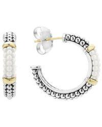 Lagos - 'black & White Caviar' Hoop Earrings - Lyst