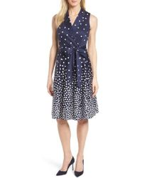 Anne Klein | New York Scattered Dot Notch Collar Dress | Lyst