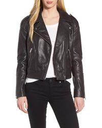 Trouvé - Crop Leather Biker Jacket - Lyst