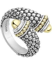 Lagos - Signature Caviar & Diamond Pave Crossover Ring - Lyst