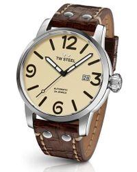TW Steel | Maverick Automatic Leather Strap Watch | Lyst